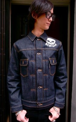 画像1: 67 SKULL NON WASH INDIGO DENIM JACKET